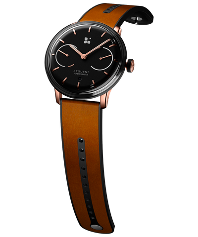 SEQUENT, self-charging hybrid smartwatch, SuperCharger Rose Gold Edition, black dial, brown Horween leather strap