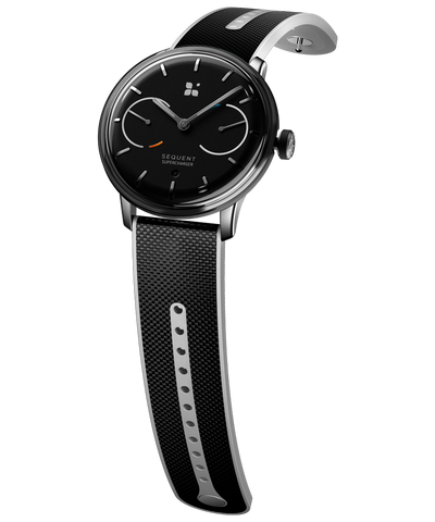 SEQUENT, self-charging hybrid smartwatch, SuperCharger Steel Edition, black dial, black Hi-Tech Cordura strap