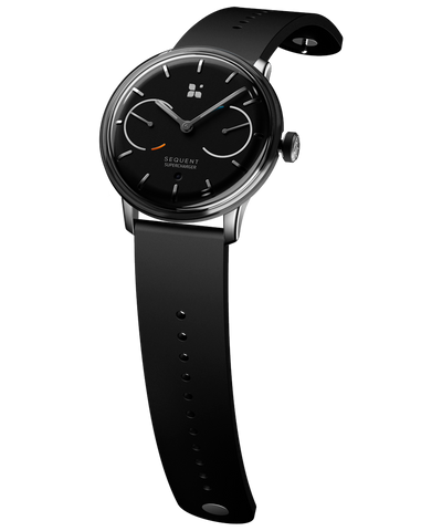 SEQUENT, self-charging hybrid smartwatch, SuperCharger Steel Edition, black dial, black FKM rubber strap