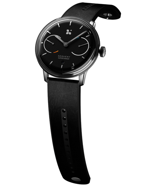 SEQUENT, self-charging hybrid smartwatch, SuperCharger Steel Edition, black dial, black Horween leather strap