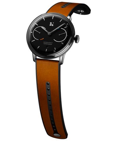 SEQUENT, self-charging hybrid smartwatch, SuperCharger Steel Edition, black dial, brown Horween leather strap