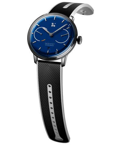 SEQUENT, self-charging hybrid smartwatch, SuperCharger Steel Edition, blue dial, black Hi-Tech Cordura strap