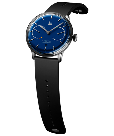 SEQUENT, self-charging hybrid smartwatch, SuperCharger Steel Edition, blue dial, black FKM rubber strap