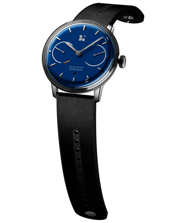 SEQUENT, self-charging hybrid smartwatch, SuperCharger Steel Edition, blue dial, black Horween leather strap