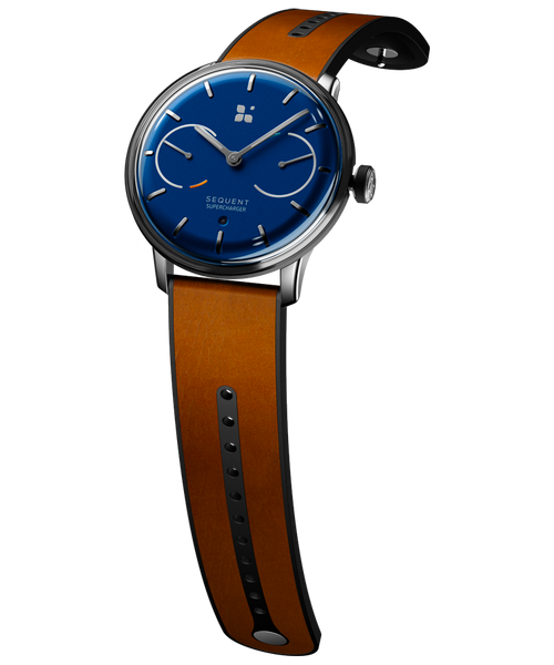 SEQUENT, self-charging hybrid smartwatch, SuperCharger Steel Edition, blue dial, brown Horween leather stap