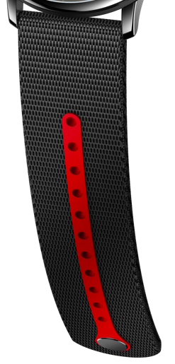 Tide black strap + light grey FKM red 187 insert Steel pins