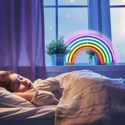 New Cute Rainbow Neon Sign LED Rainbow Light Lamp for Dorm Decor