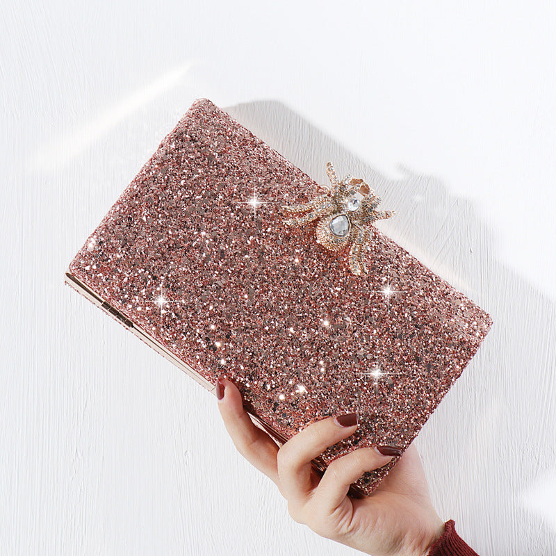 Caught In My Web - Pink Glitter Clutch