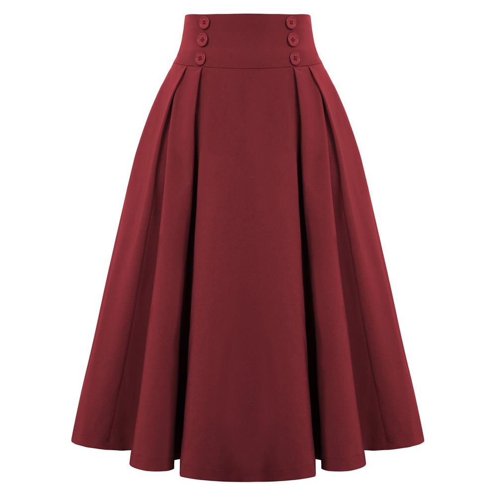 """Darling"" Wine Pleated Circle Skirt"