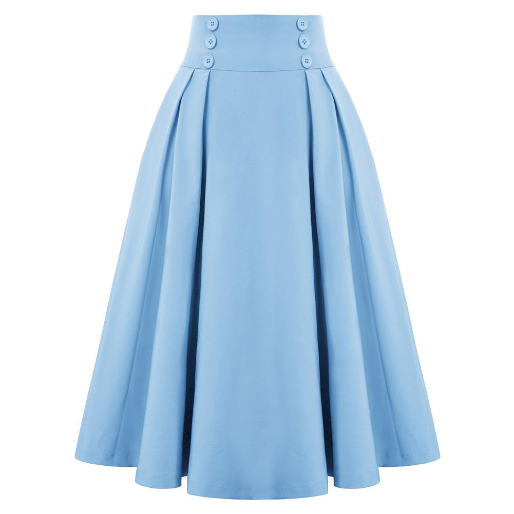 """Darling"" Blue Pleated Circle Skirt"