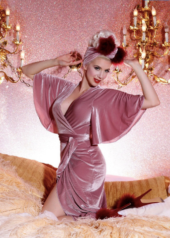 Harlow Wrap Gown - Dusty Rose