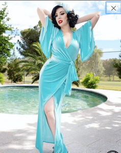 Harlow Wrap Gown- Caribbean Blue