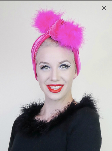 Pom Pom Headwrap- Electric Pink