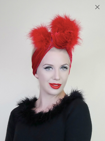 Pom Pom Headwrap - Lipstick Red