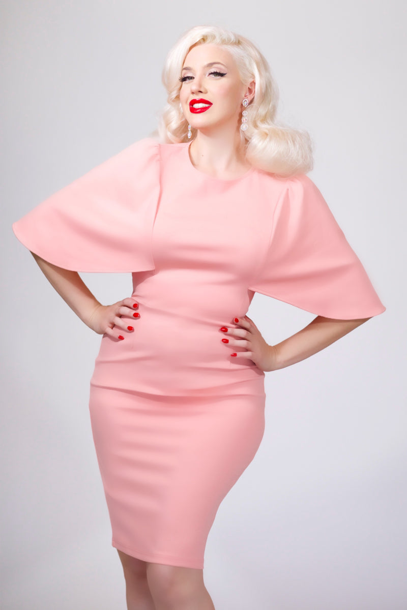 """Betwitched"" Pink Capelet Dress"