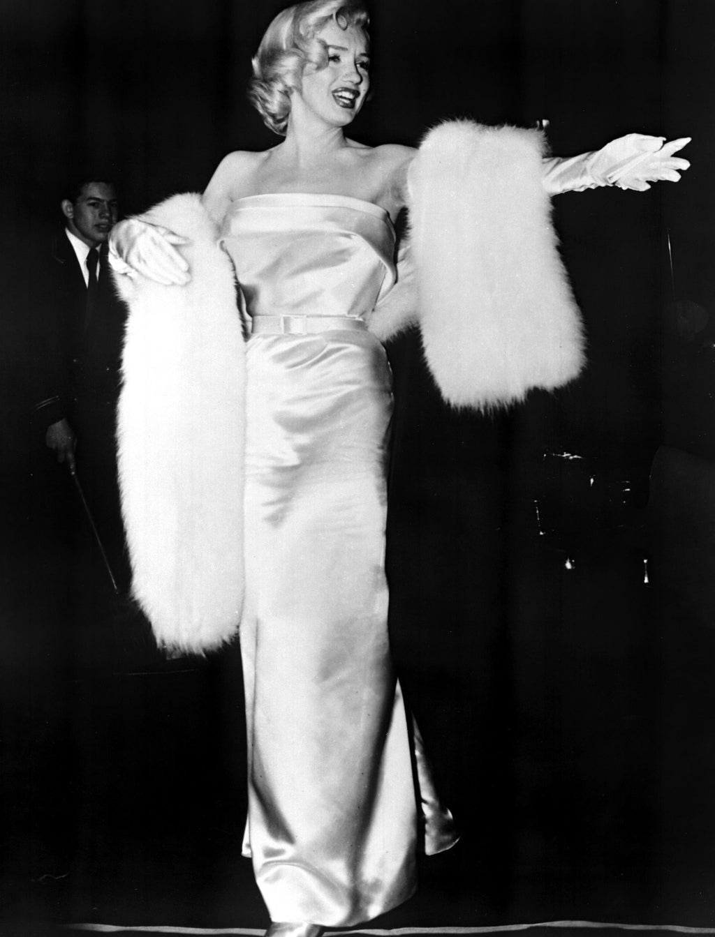"""Marilyn's Mink"" White Faux Fur Stole"
