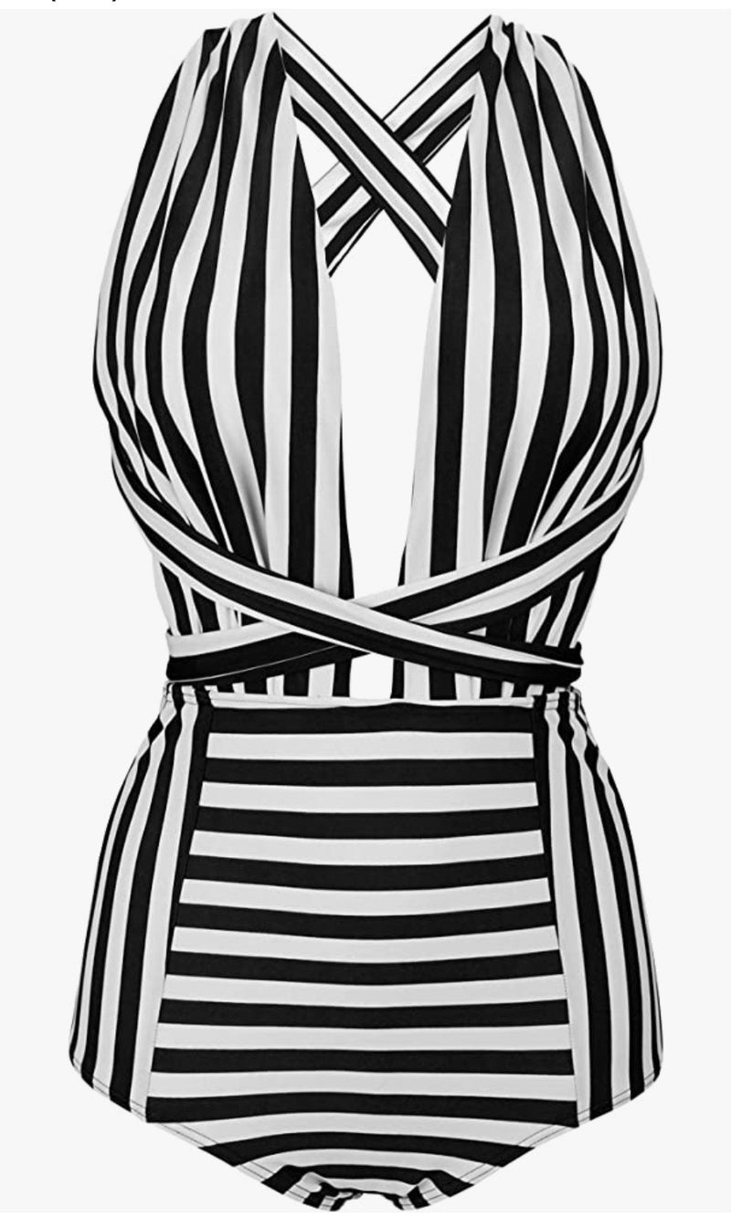 Striped One Piece Wrap Swimsuit