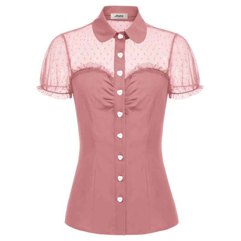 """Bisous"" Pink Button Up Blouse"