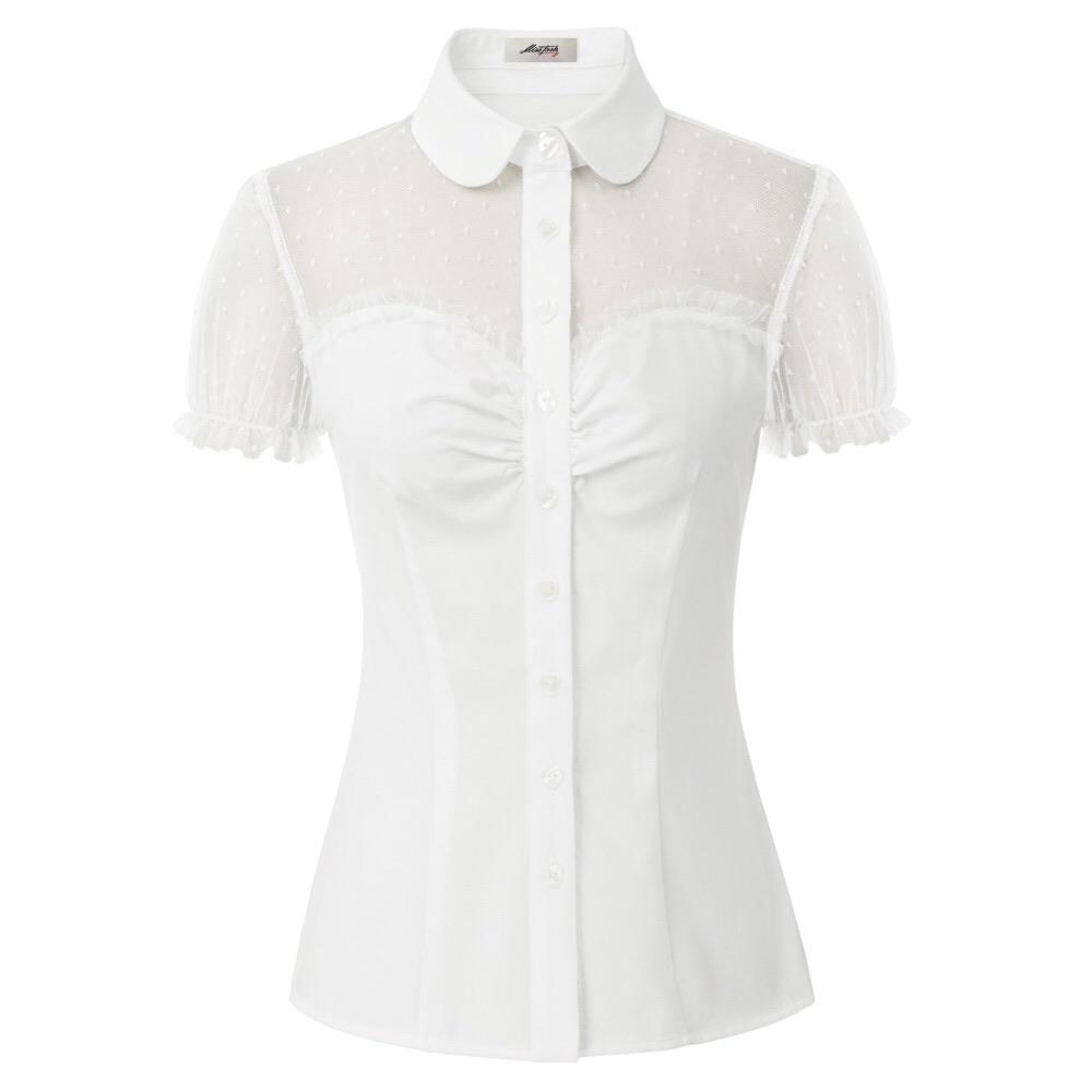 """Bisous"" White Button Up Blouse"