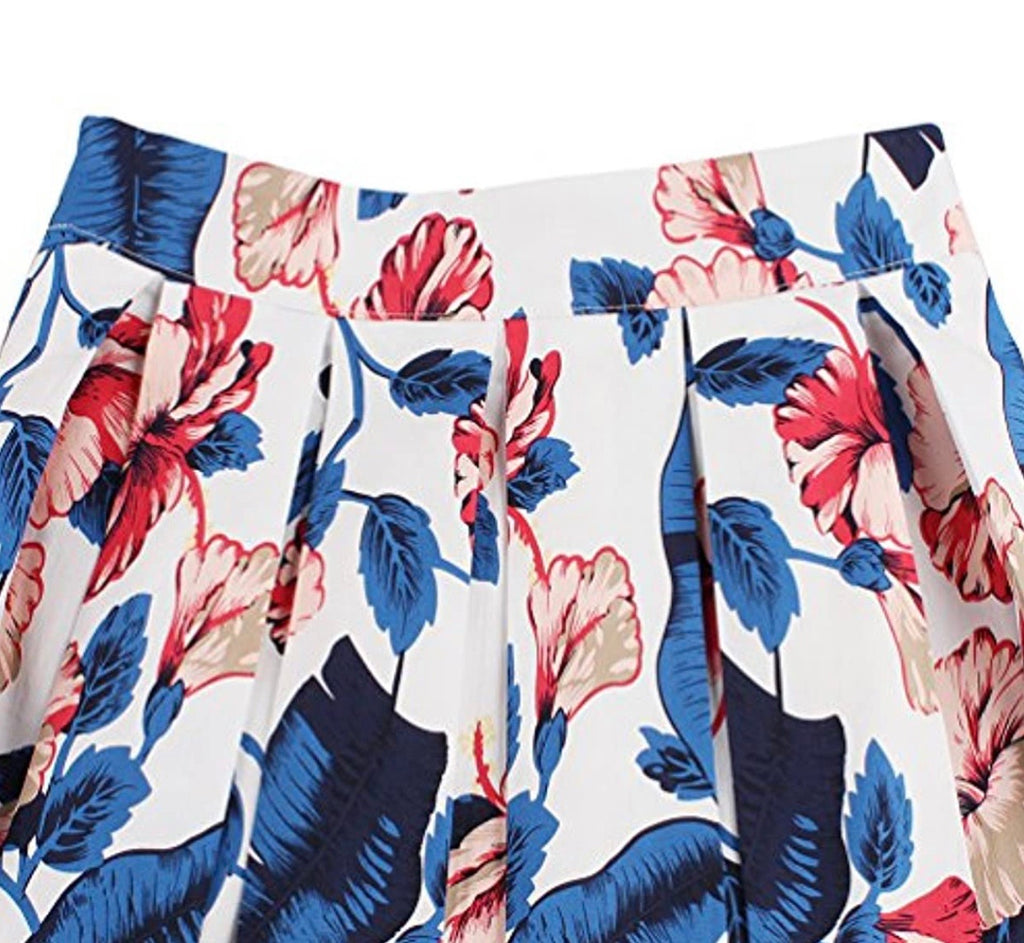 """Hibiscus Dream"" Print Pleated Circle Skirt"