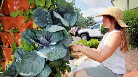 woman tending to her Garden Tower®