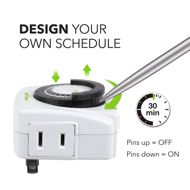 Indoor 24-Hour Mechanical Outlet Timer, 3 Prong