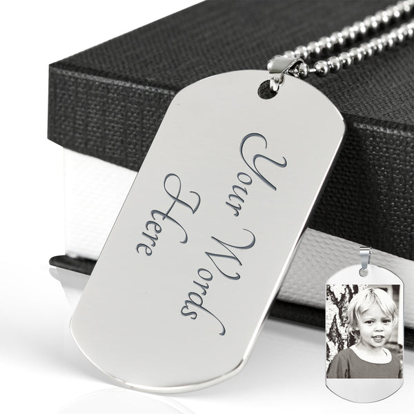 Engraved Dog Tag with Etched Photo