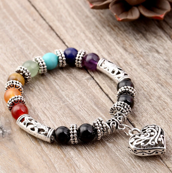 Beautiful heart pendant 7 Chakra bracelet with 10MM beads