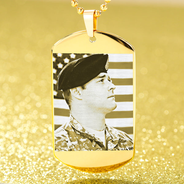 dog tag with military photo engraved