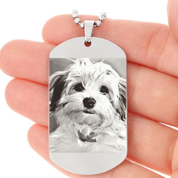 photo etched dog tag with favorite pet