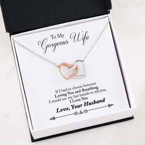"""I Love You"" Interlocking Hearts Necklace"