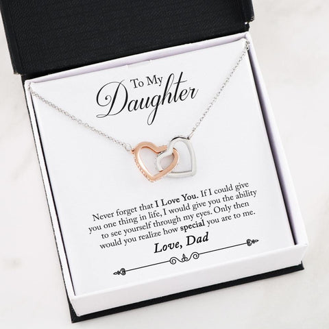 """I Love You"" (Dad to Daughter) Interlocking Hearts Necklace"
