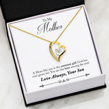 """A Mom Like You is the Sweetest Gift"" (Son to Mom) Heart Pendant Necklace"
