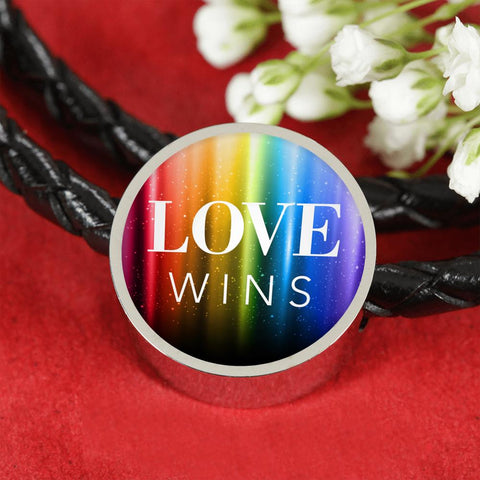 LOVE Wins Woven Leather Charm Bracelet