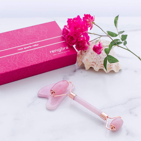 Rose Quartz Face Roller Face Massager Set