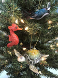Hand-Painted Red Seahorse Christmas Ornament