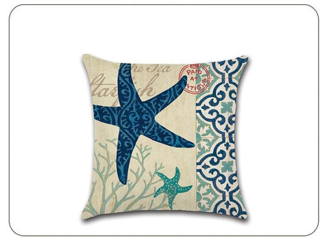 Marine Life Decorative Linen Pillow Covers