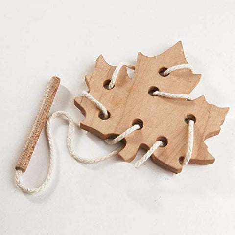 Maple Leaf Wooden Lacing Toy - the cozzee project