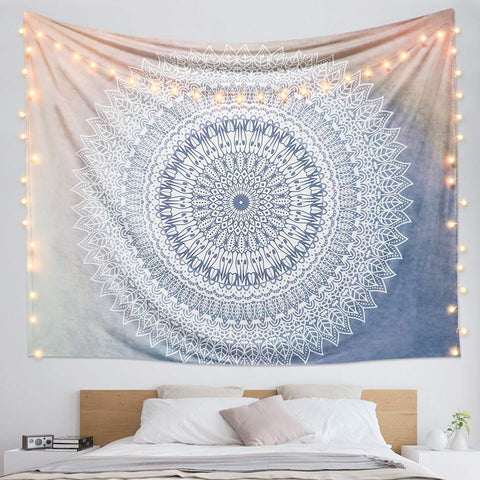 Hippie Bohemian Grey Mandala Flower Tapestry - the cozzee project