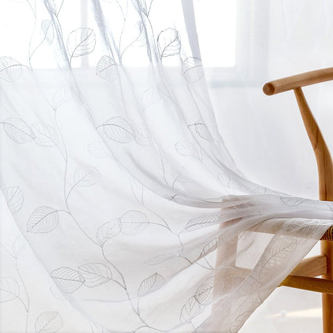 White Sheer Curtains With Leaf Embroidery - the cozzee project