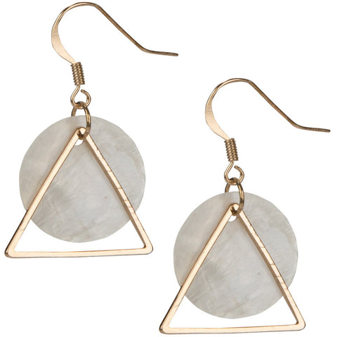 Triangle Circle Shell Earrings - the cozzee project