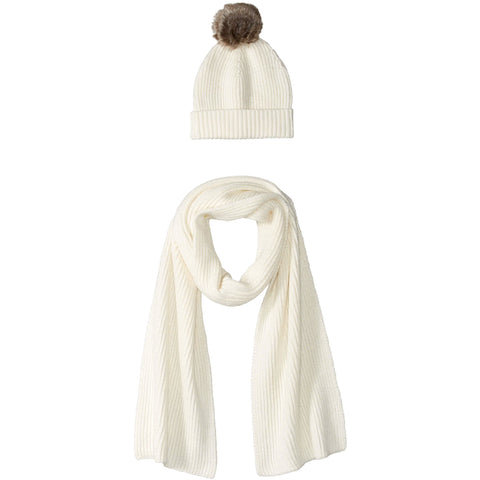 Women's Pom Knit Hat and Scarf Set - the cozzee project