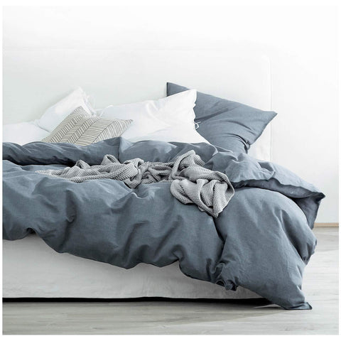 Eikei Washed Cotton Chambray Duvet Cover Solid Color Casual Modern Style Bedding Set Relaxed Soft Feel Natural Wrinkled Look (Queen, Navy Blue)