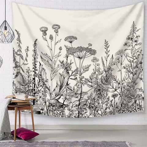 Black and White Botanical Tapestry - the cozzee project