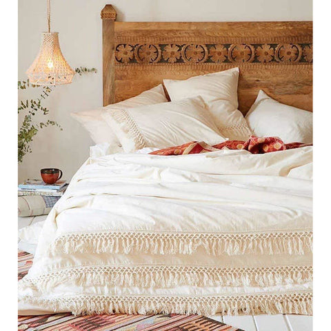 White Duvet Cover With Fringed Cotton Tassel - the cozzee project