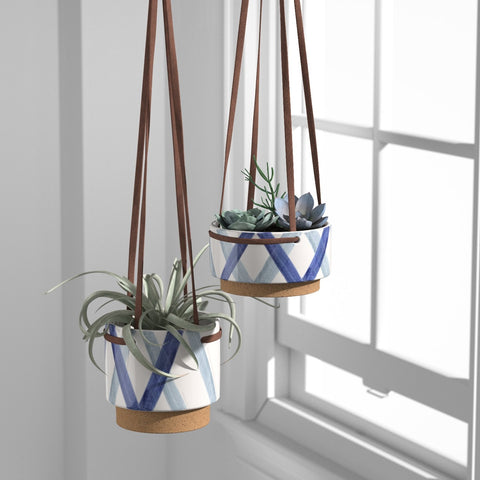 Rivet Ceramic Planter with Leather Strap | Blue & Ivory - the cozzee project