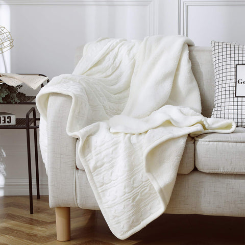 Premium Knit Sherpa Throw Blanket | Reversible Fleece - the cozzee project