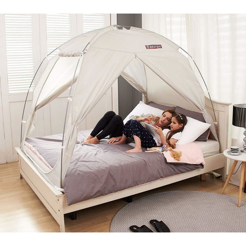 Floorless Indoor Privacy Tent on Bed - the cozzee project