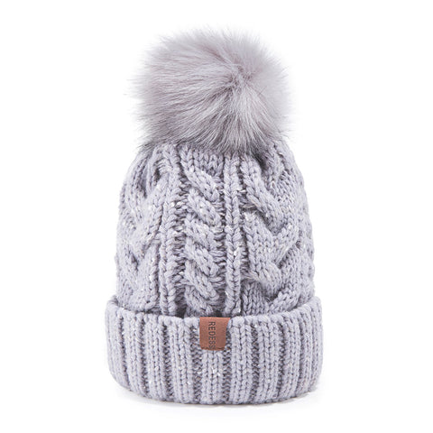 Winter Pom Pom Beanie Hat with Warm Fleece Lined - the cozzee project