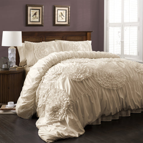 Serena Comforter Ivory Ruched Flower | 3 Piece Set - the cozzee project